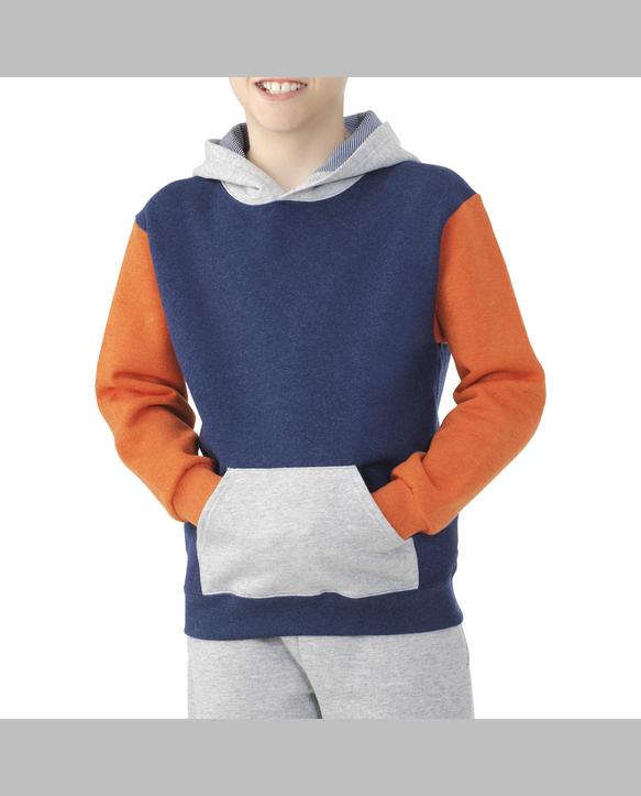 Boys' Fleece Hoodie Sweatshirt, 1 Pack Blue Heather and Orange