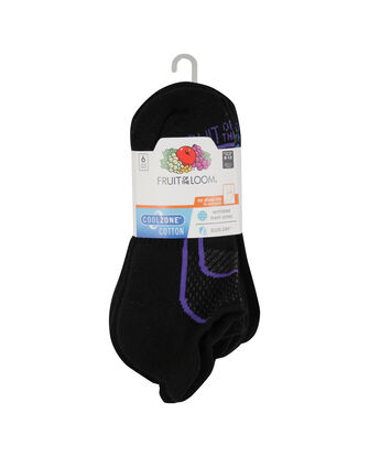 Women's CoolZone Cushioned Cotton No Show Tab Socks, 6 Pack
