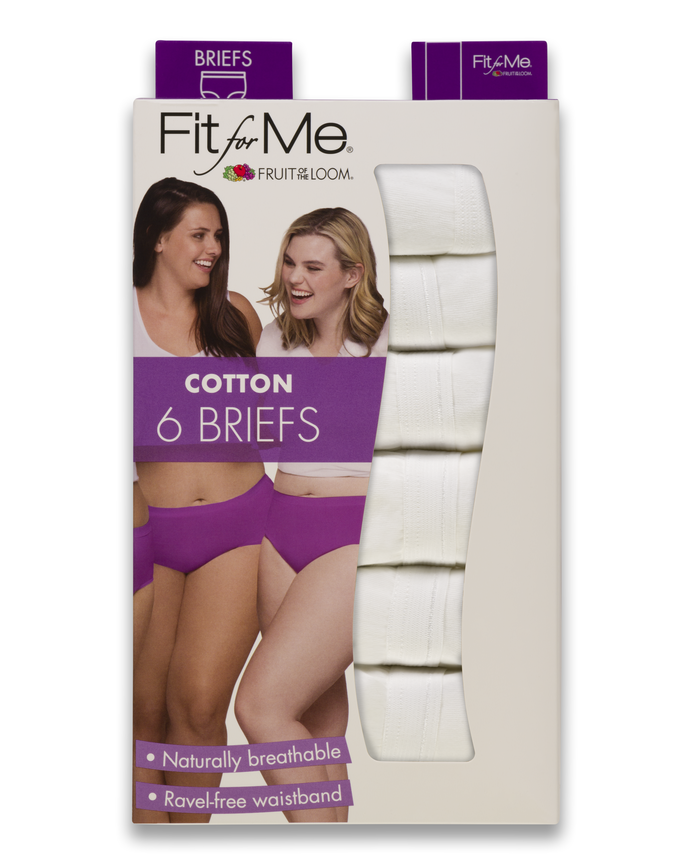 Women's  Fit for Me by White Cotton Briefs, 6 Pack