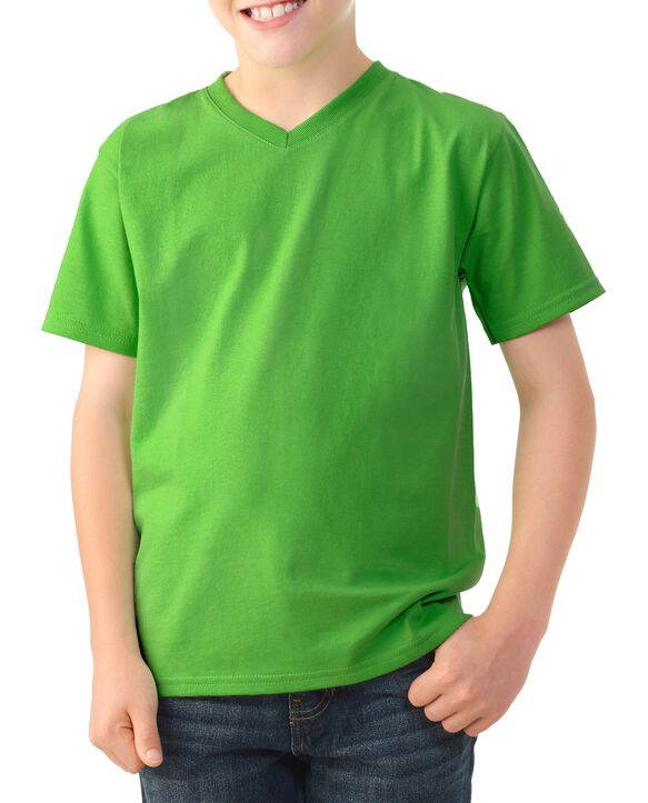 Boys' Short Sleeve V-Neck T-Shirt, 2 Pack Kiwi Green