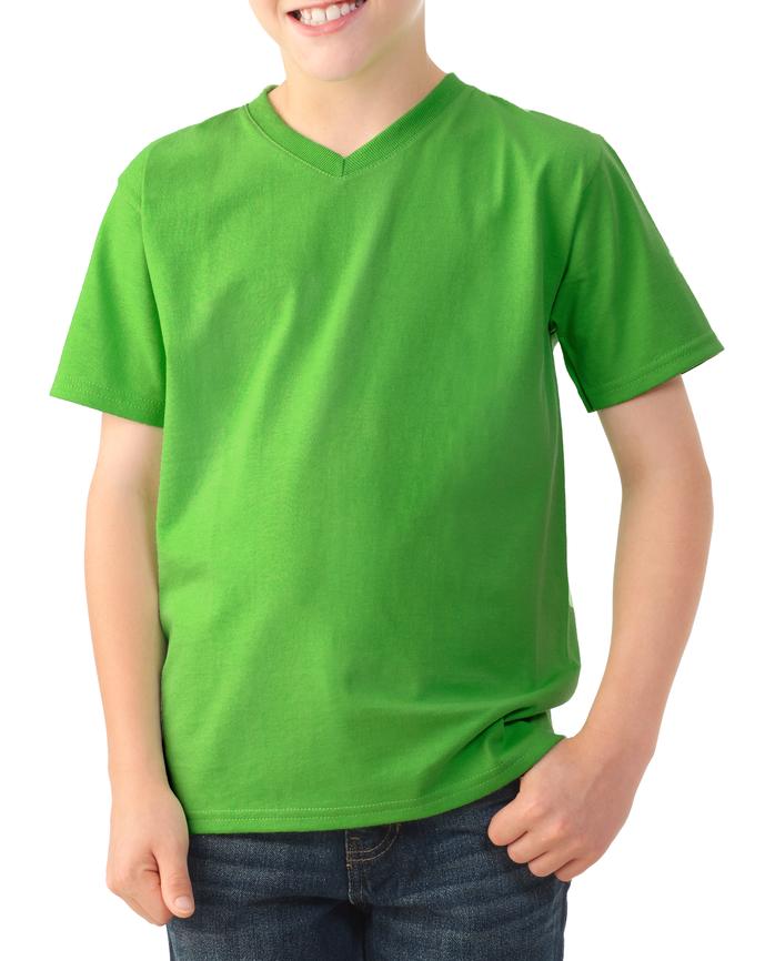 Boys' Short Sleeve V-Neck T-Shirt, 2 Pack Kiwi Green