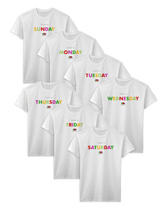 Fruit of the Loom Days of the Week T-Shirts, 7 Pack