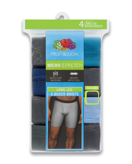 Men's Micro-Stretch Assorted Long Leg Boxer Briefs, 4 Pack, Size 2XL