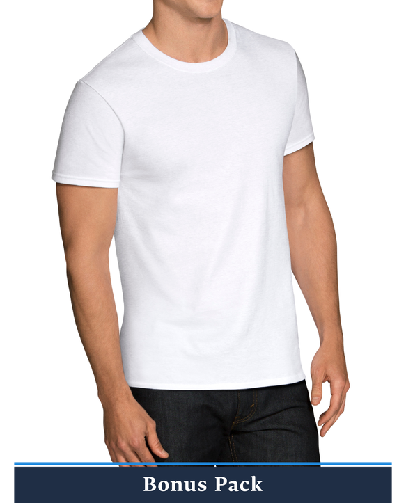 Men's Short Sleeve White Crew T-Shirts, 9 Pack