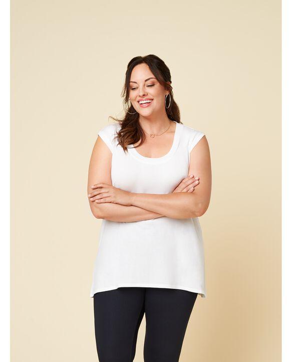 Women's Seek No Further Plus Size Scoop Neck Tank Top Pearl White