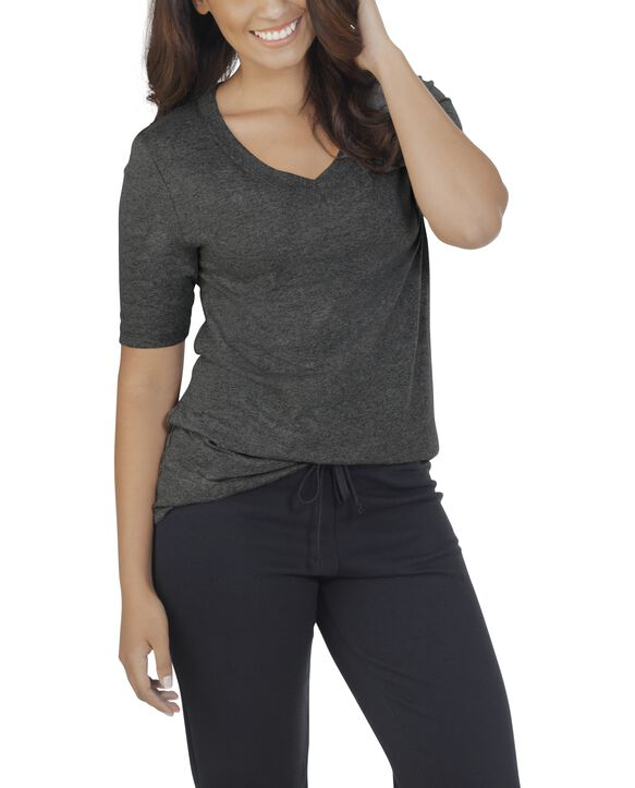 Women's Essentials Elbow Length V-Neck T-Shirt, 1 Pack Black Heather