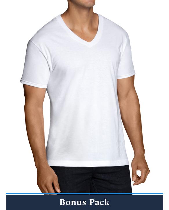 Men's Short Sleeve White V-Neck T-Shirts, 12 Pack