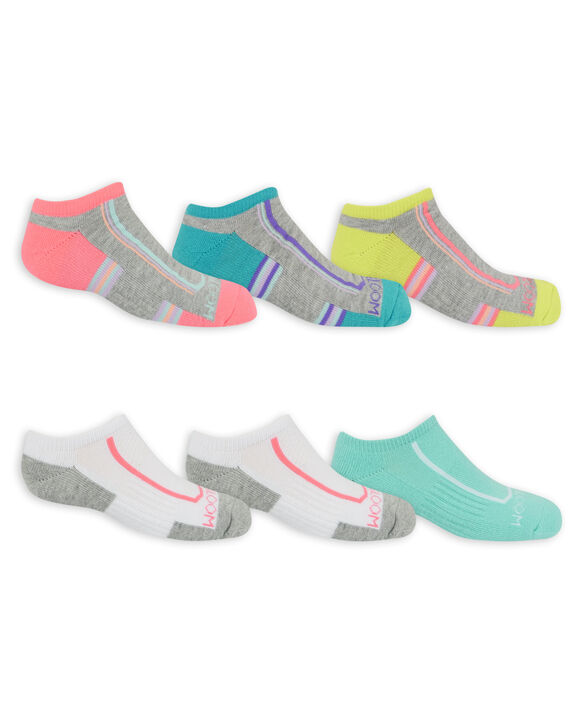 Girls' Active Cushioned No Show Socks, 6 Pack GREY/PINK, GREY/BLUE, GREY/GREEN, GREEN, WHITE/GREY, PURPLE