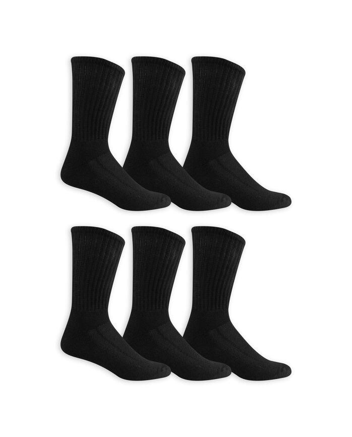 Men's Breathable Cotton Crew Socks, 6 Pack, Size 6-12 BLACK