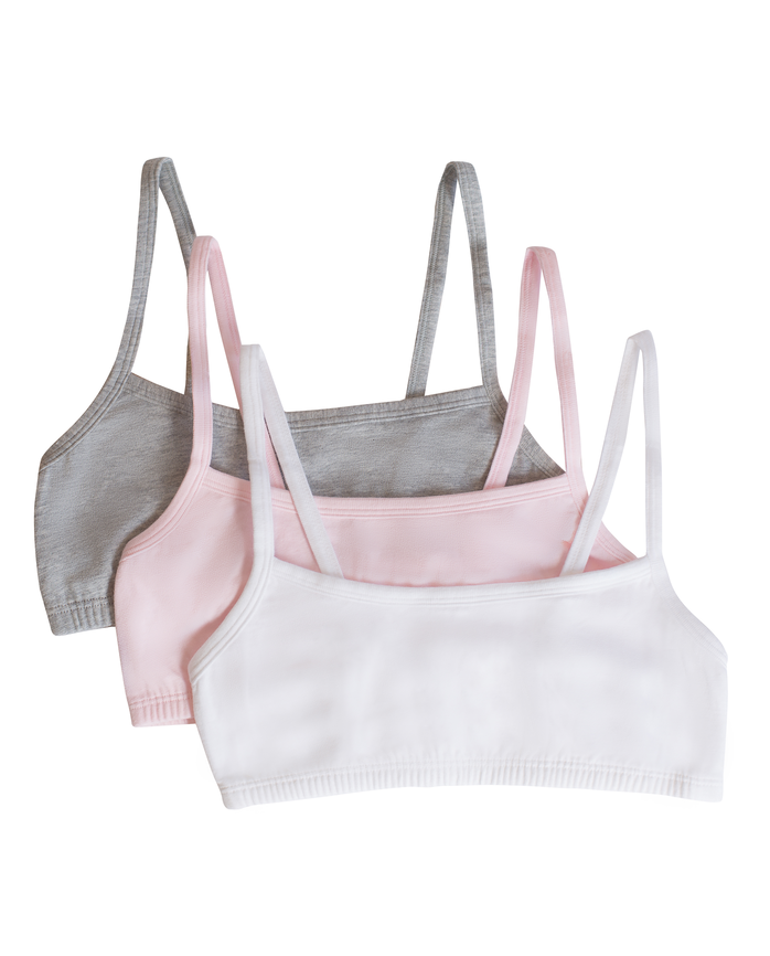 Girls' Cotton Stretch Spaghetti Strap Sports Bra 3 Pack