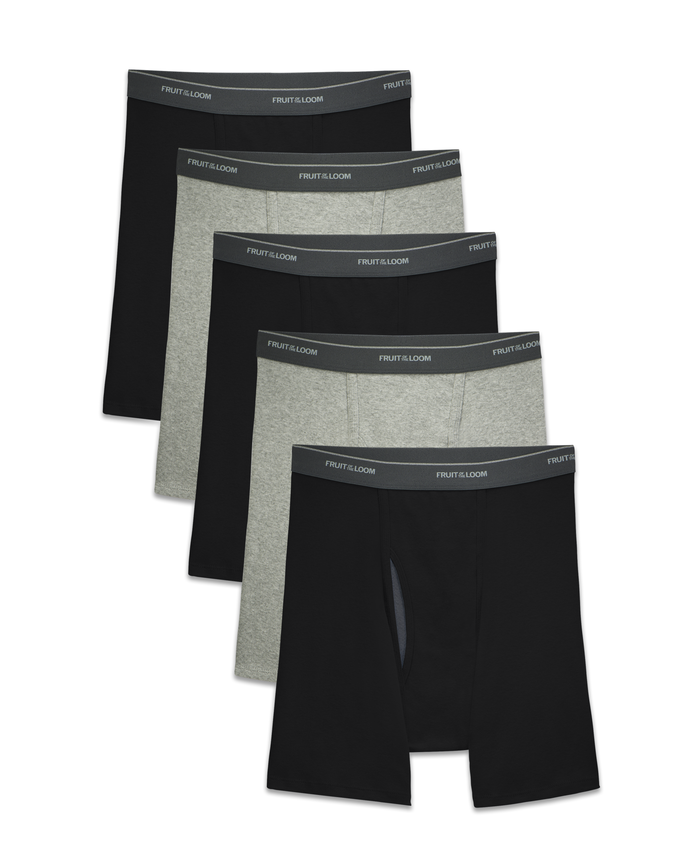 Men's COOLZONE Black/Gray Boxer Briefs, 5 Pack ASSORTED