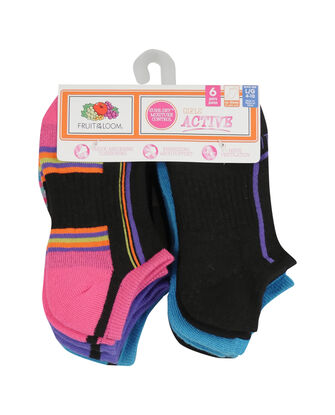 Girls' Active Cushioned No Show Socks, 6 Pack