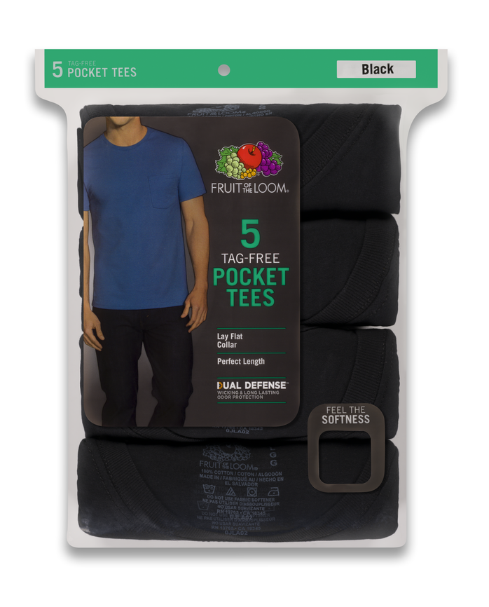 Men's Dual Defense® Assorted Pocket T-Shirts, 5 Pack ASSORTED