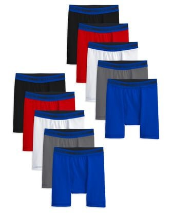 Boys' Cotton Stretch Boxer Briefs, 10 Pack