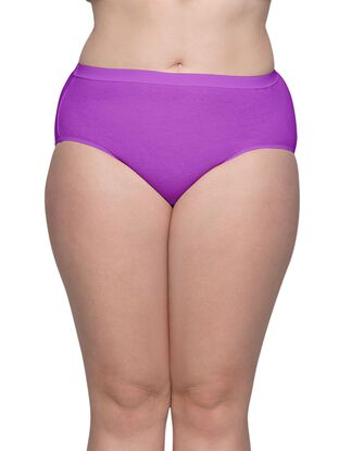Women's Plus Fit for Me Comfort Covered Cotton Assorted Brief Panty, 6 Pack