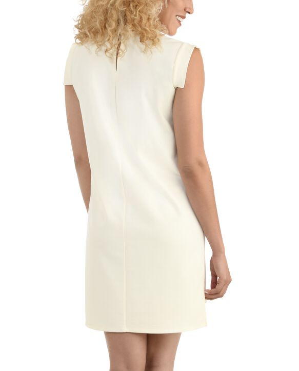 Women's Seek No Further Pleated Ponte Shift Dress Ivory