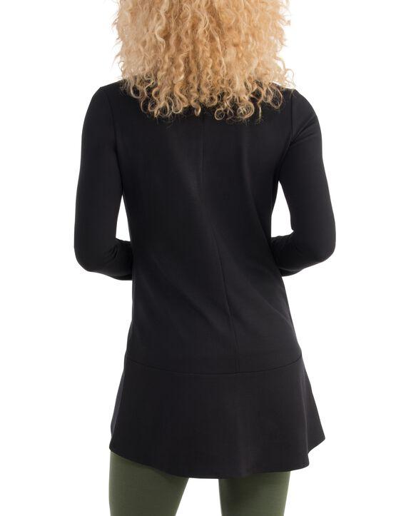 Women's Seek No Further Open Front Long Sleeve Ponte Stretch Jacket Brilliant Black