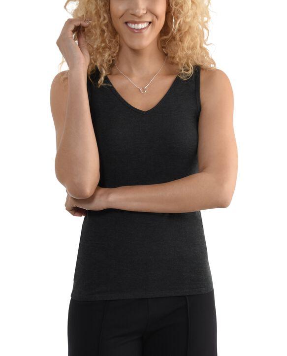 Women's Seek No Further V-Neck Tank Top Dark Charcoal Heather