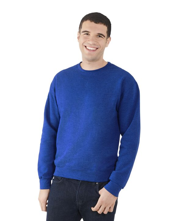 Men's EverSoft Fleece Crew Sweatshirt, Extended Sizes, 1 Pack Blue Glass Heather