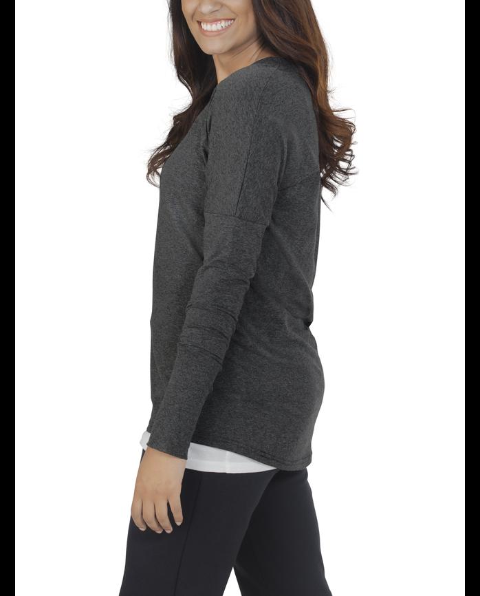 Women's Essentials Long Sleeve Scoop Neck T-Shirt, 1 Pack Black Heather