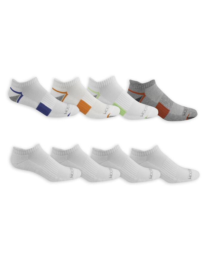 Men's Breathable Low Cut Socks Pair, 8 Pack WHITE/GREEN, WHITE, GREY/RED, WHITE, WHITE/BLUE, W