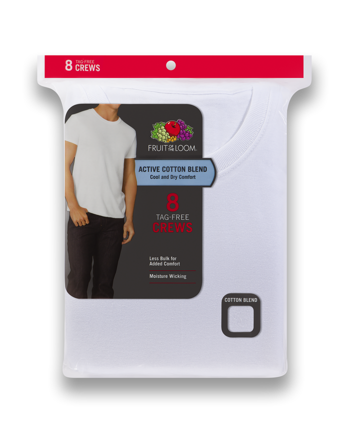 Men's Dual Defense® Active Cotton Blend White Crew Neck T-Shirts, 8 Pack