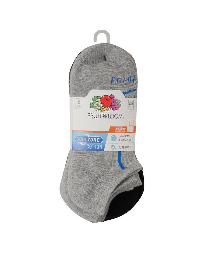 Women's CoolZone Cushioned Cotton No Show Socks, 6 Pack GREY/BLUE, GREY/PURPLE, GREY/PINK, BLACK/PURPLE, BLACK/BLUE, BLACK/PINK