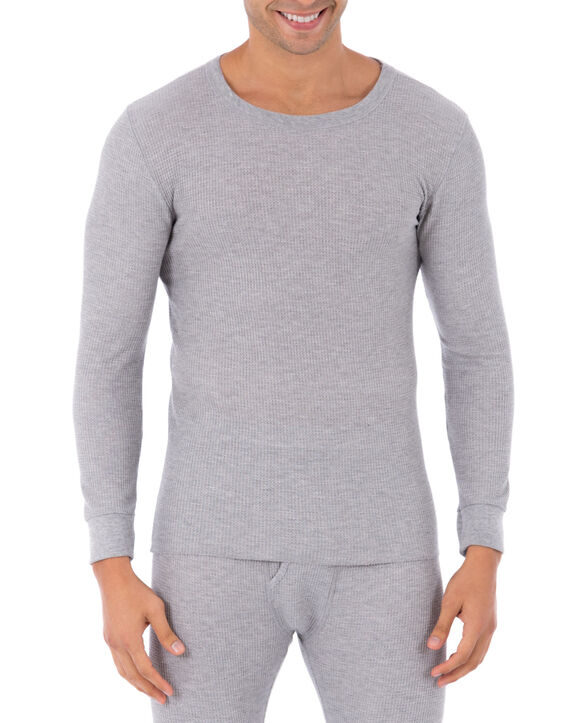 Men's Waffle Thermal Crew Top, 1 Pack LIGHT GREY HEATHER