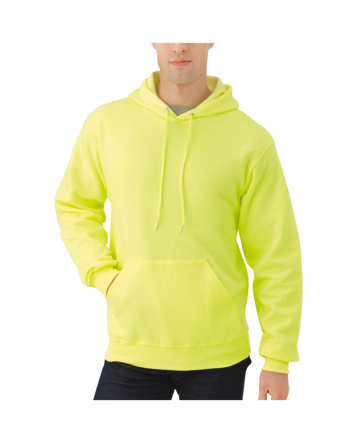 Big Men's Dual Defense EverSoft Pullover Hooded Sweatshirt Safety Green