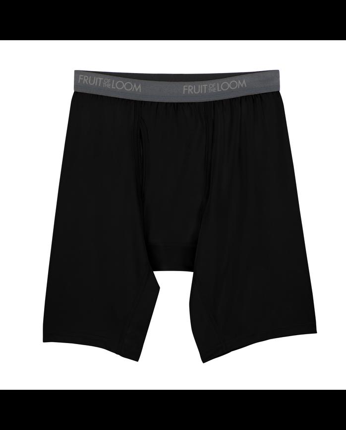 38fc766a6fea76 Big Men s Micro-Stretch Black Gray Long Leg Boxer Briefs