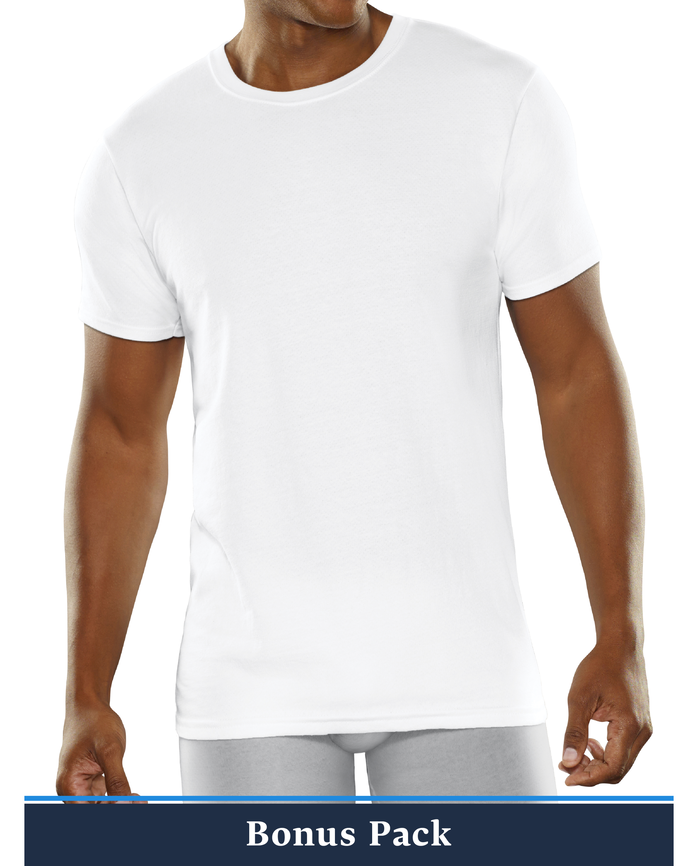 Men's Breathable Cooling Cotton Mesh White Crew T-Shirts, Super Value 6 Pack