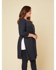 Women's Seek No Further Plus Size Ponte Open Front Long Cardigan Brilliant Black