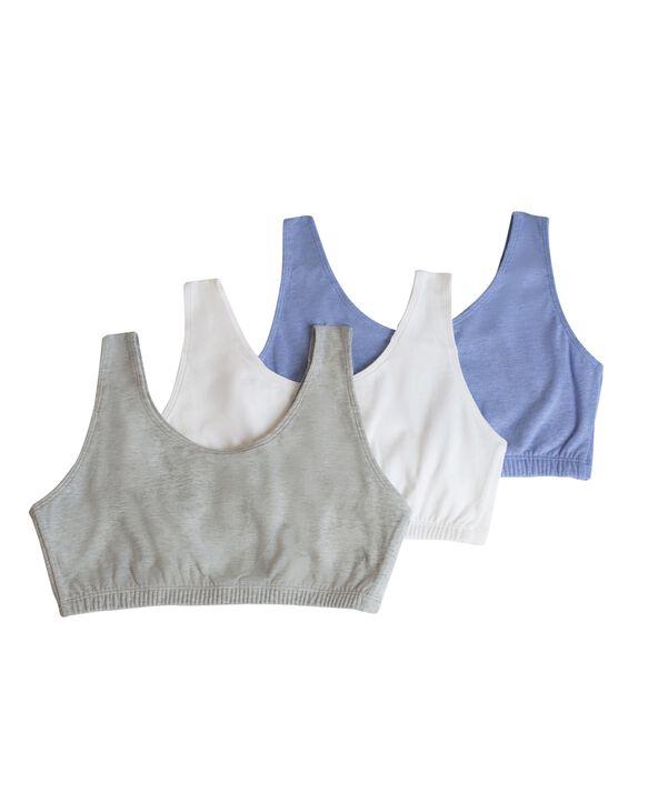 Women's Tank Style Sports Bra, 3 Pack HEATHER BLUE/WHITE/HEATHER GREY