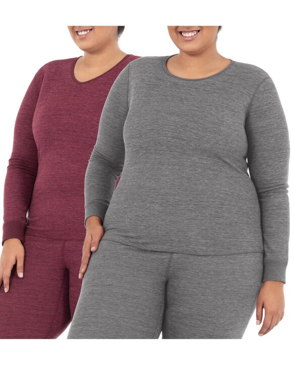 Women's Plus Size Thermal Crew & V-Neck Top, 2 Pack SMOKE INJECTION HEATHER (CREW) /MERLOT (VNECK)
