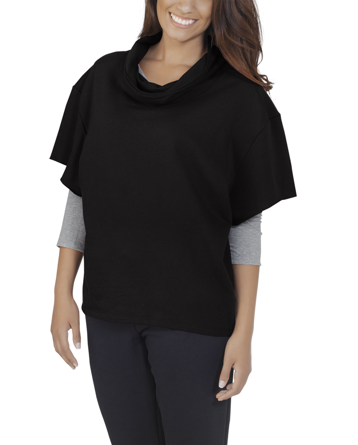 Women's Essentials Cowl Neck Pullover, 1 Pack Black