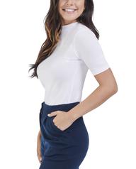 Women's Seek No Further Mock Neck Ribbed T-Shirt White