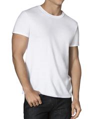 Men's White Active Cotton Blend Crew, 8 Pack