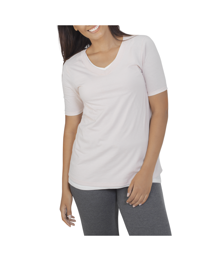 Women's Essentials Elbow Length V-Neck T-Shirt, 1 Pack