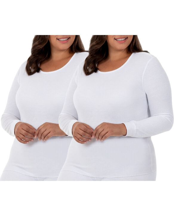 Women's Plus Size Thermal Crew Top, 2 Pack White