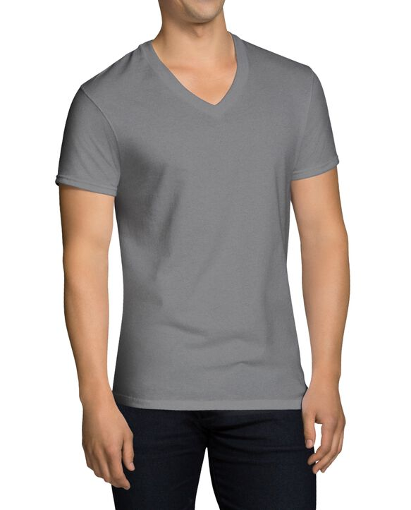 Men's Short Sleeve Black and Gray V-Neck T-Shirts, Extended Sizes, 4 Pack Black and grey