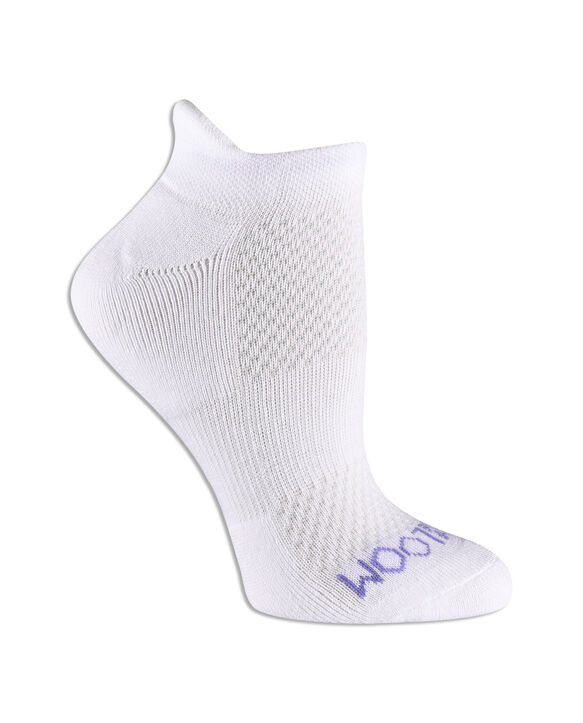 Women's Fit For Me® Breathable Cotton No Show Tab Pair, 3 Pack WHITE/BLUE, WHITE/PURPLE, WHITE/PINK