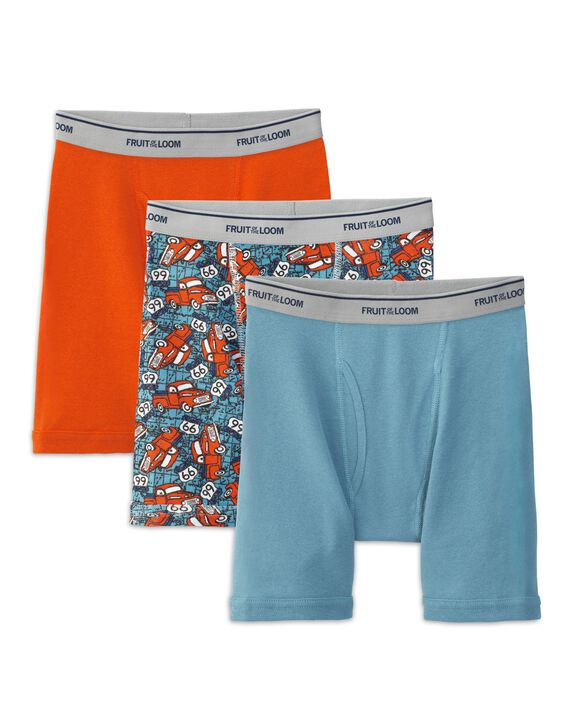Boys' Print and Solid Boxer Brief, 3 pack
