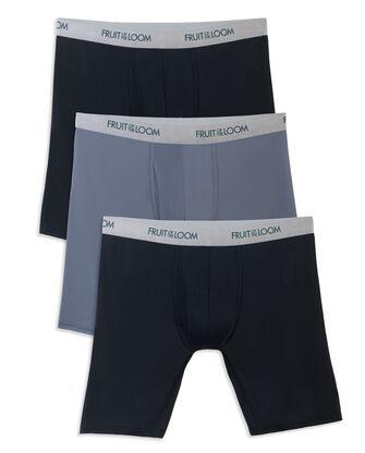 Men's EverLight Long Leg Black/Gray Boxer Briefs, 3 Pack