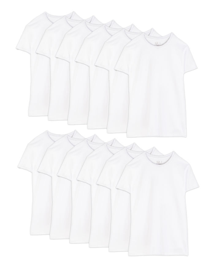 Men's Short Sleeve White Crew T-Shirts, 12 Pack