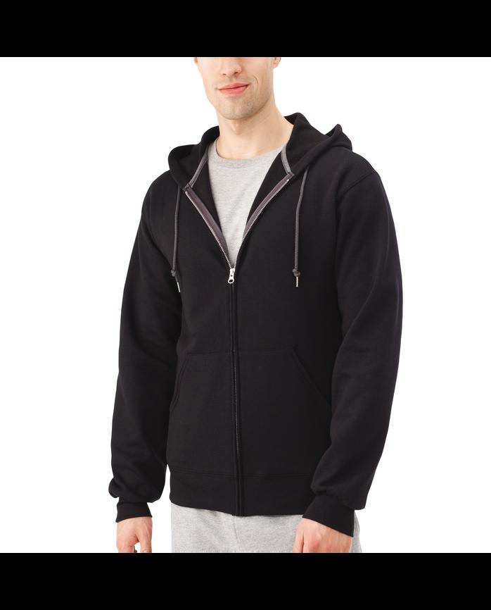 Men's Dual Defense EverSoft Fleece Full Zip Hooded Sweatshirt, 1 Pack, Extended Sizes Black