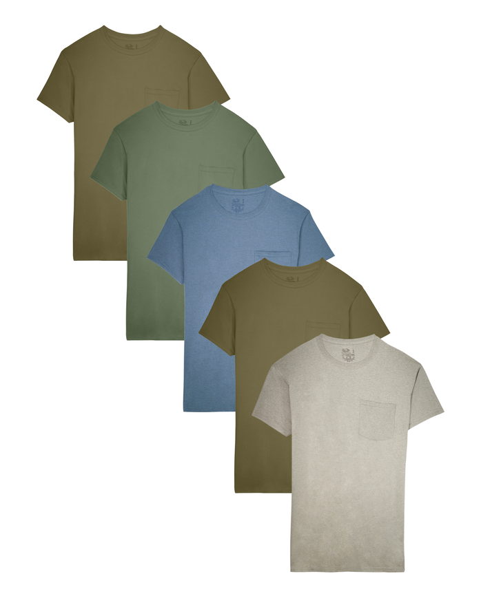 Fruit of the Loom Men's Dual Defense Fashion Pocket T-Shirts, 5 Pack ASSORTED