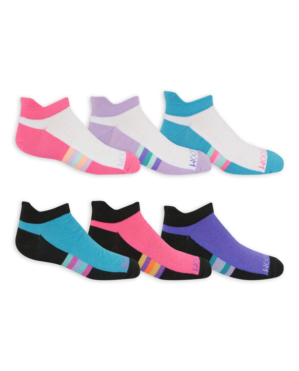 Girls' Active Lightweight No Show Tab Socks, 6 Pack WHITE/PURPLE, WHITE/PINK, WHITE/BLUE PINK/BLACK, PURPLE/BLACK, BLUE/BLACK