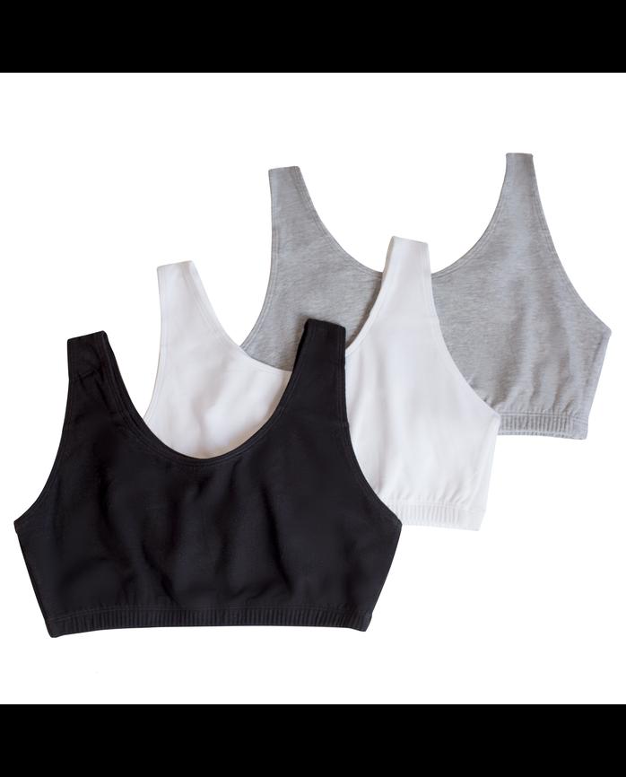 Women's Tank Style Sports Bra, 3 Pack BLACK/WHITE/HEATHER GREY