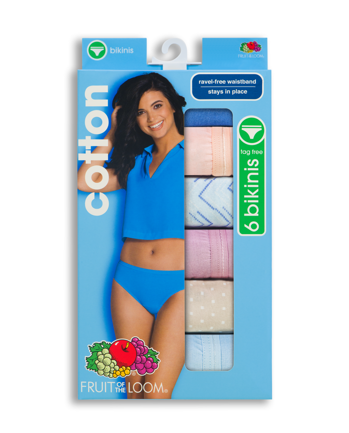 Women's Cotton Bikini, 6 Pack