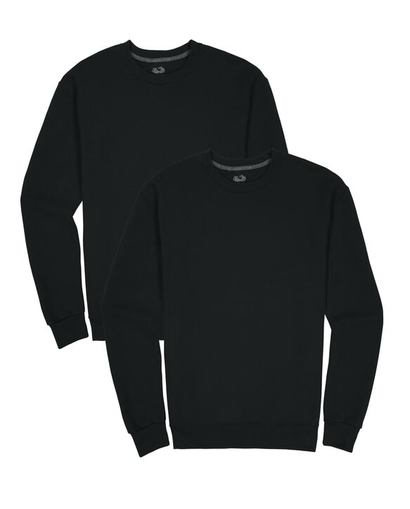 Men's EverSoft Fleece Crew Sweatshirt, 2 Pack RICH BLACK